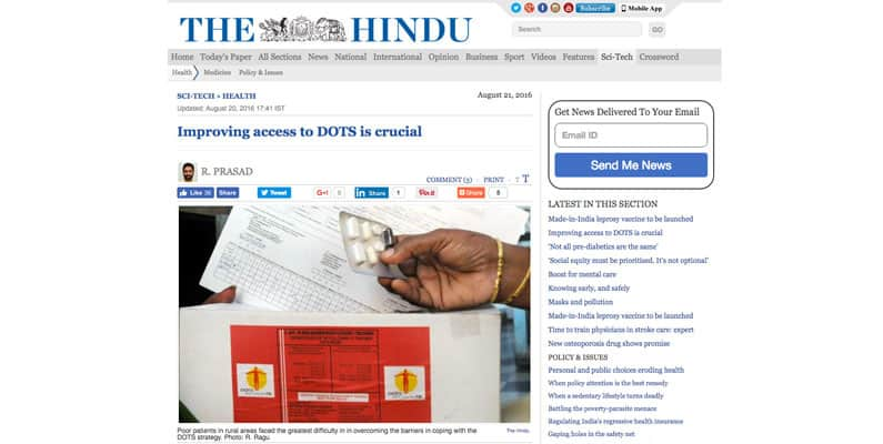Dr Vijayashree H Y, faculty, article gets featured in science section of Hindu News paper