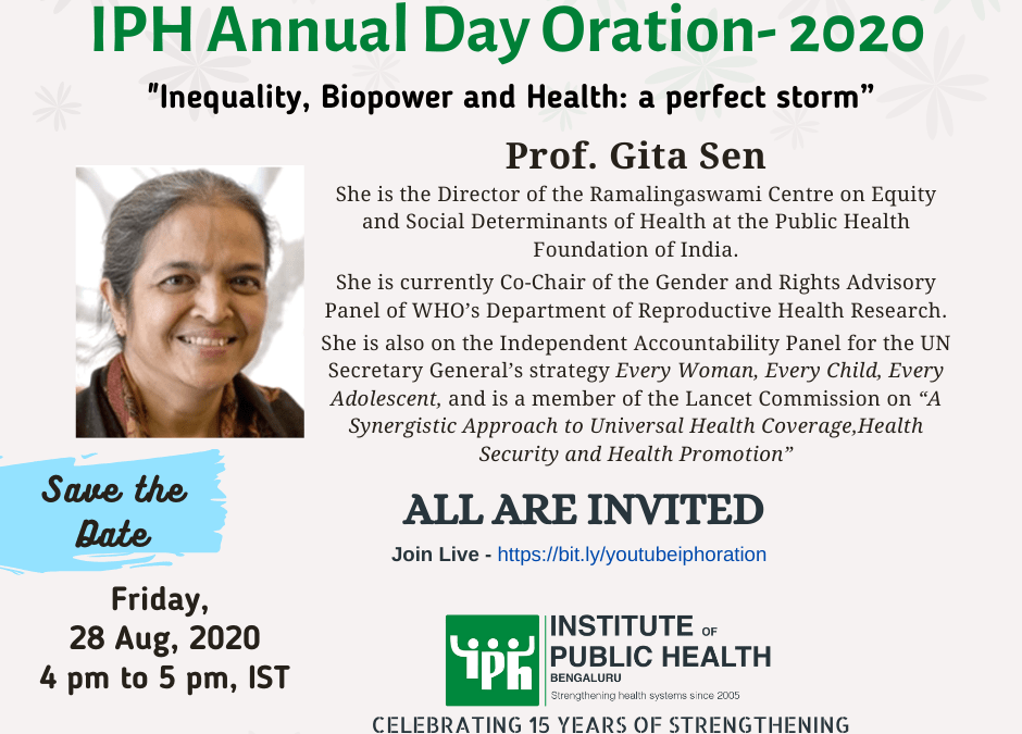 IPH Annual Day Oration 2020