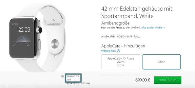 Apple Watch Auslieferung Juni 2015
