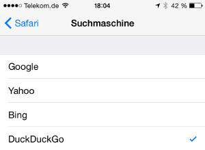 Suchmaschine iOS8