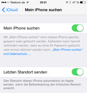 iOS 8 iPhone letzter Standort