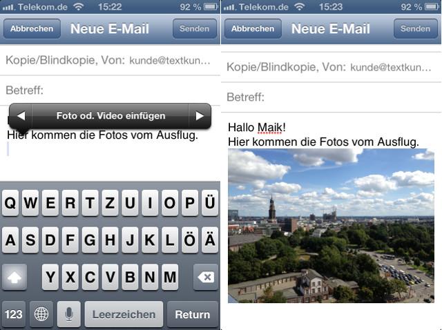 Mail Fotos iOS 6