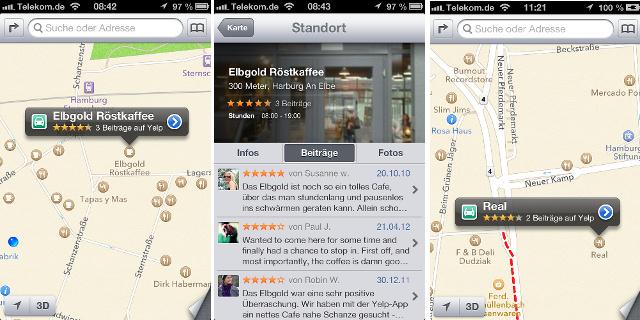 Yelp Karten iOS 6