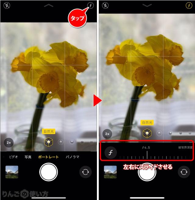 ポートレートモードのボケ(被写体深度)を変える方法 iPhone 11 iPhone 11 Pro