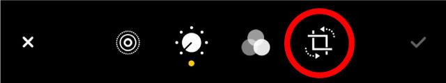 iOS 14のトリミング・画像回転のアイコンは画面下の右側に