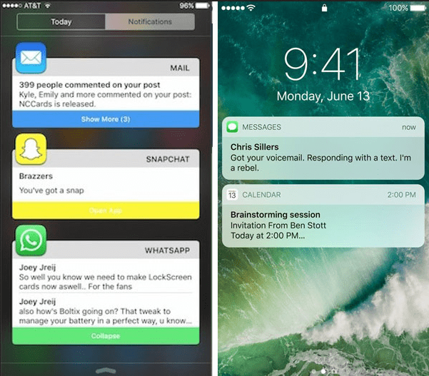 iOS 10 Notification Center - messages