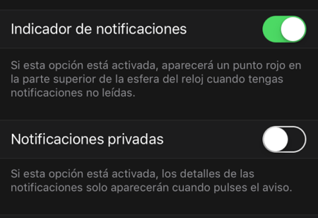 desactivar indicador notificaciones apple watch