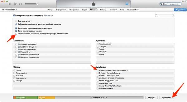 Setarea sincronizării fișierelor audio individuale cu iTunes