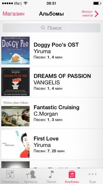 Содержимое приложения Музыка в iPhone