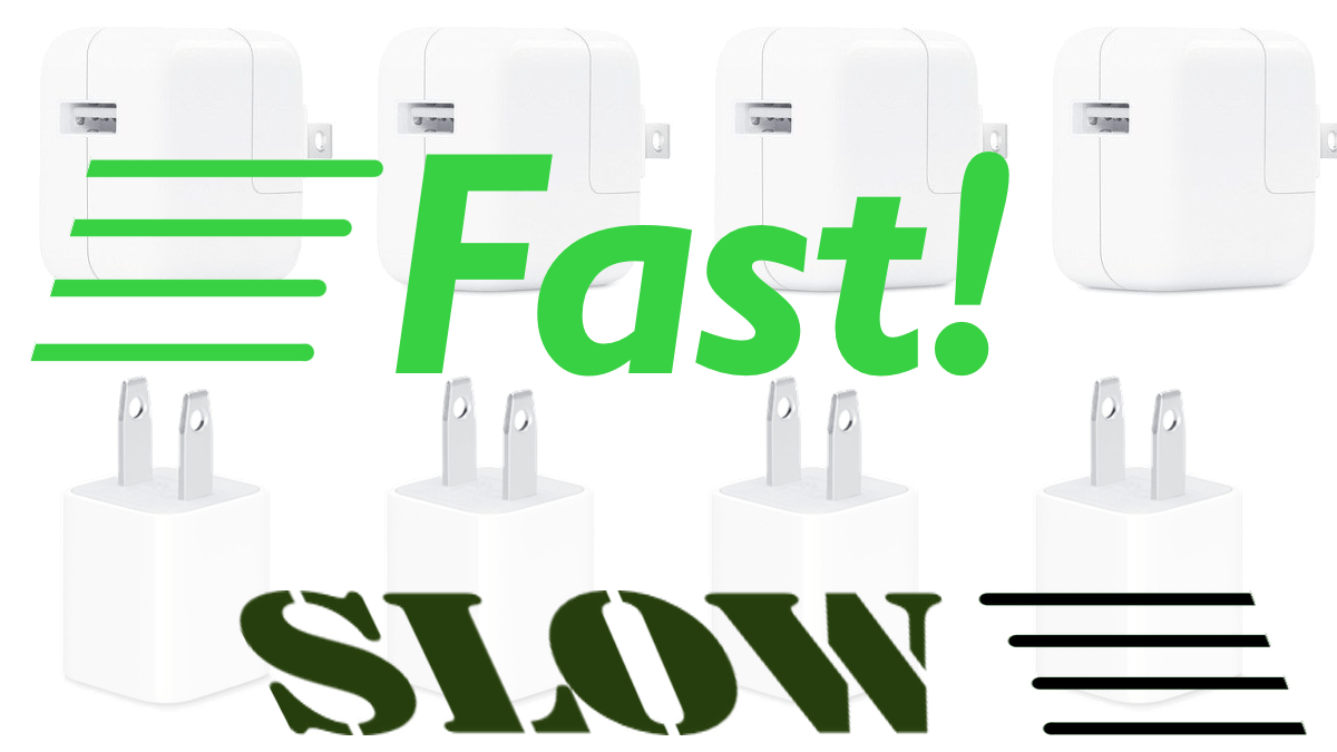 Fast and slow iPhone chargers