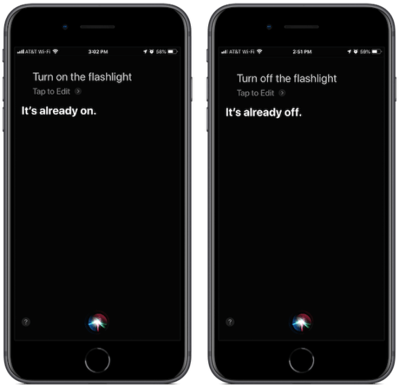 """Screenshots: Siri lets you know the flashlight is already on when you ask it to be turned on a second time. Same thing for """"off."""""""