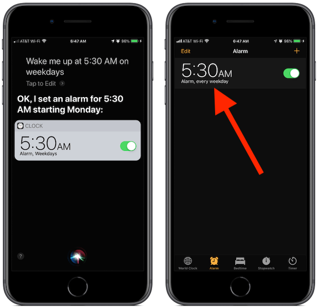 Screenshot: Siri, wake me up at 5:30 am weekdays