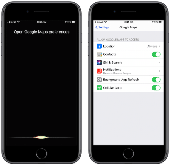 Screenshot showing how you can ask Siri to open Google Maps' preferences