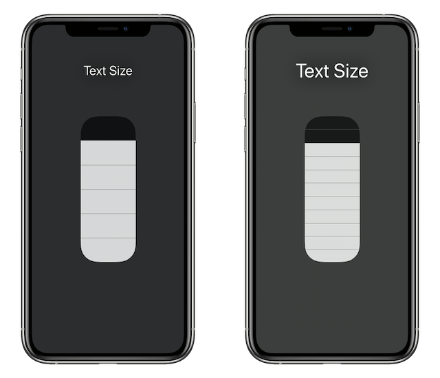 Control Center Text Size sliders with Larger Text off (left picture) and on (right picture)