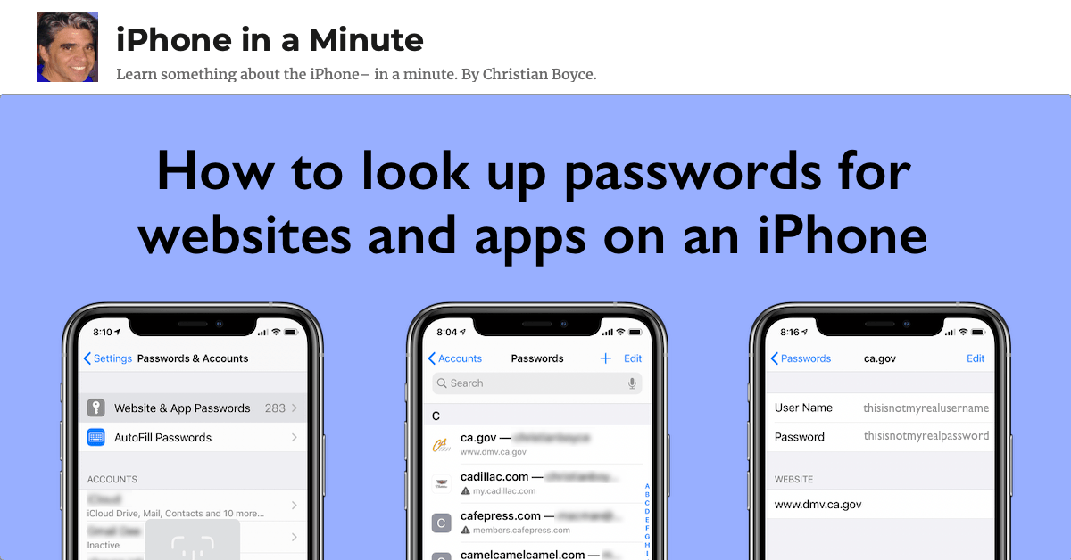 How to look up passwords for websites and apps on an iPhone