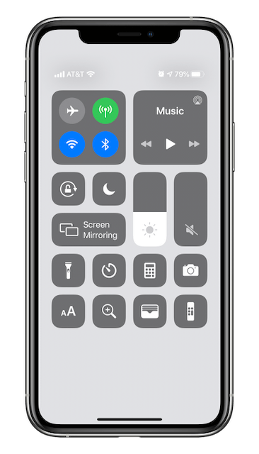 Control Center after customization. New items at the bottom.