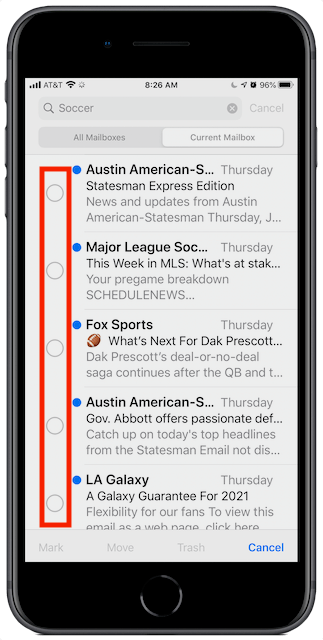 iOS Search with selection circles