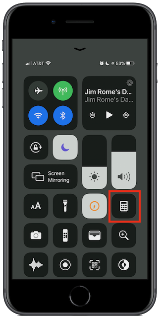 Put the Calculator into the Control Center for easy access