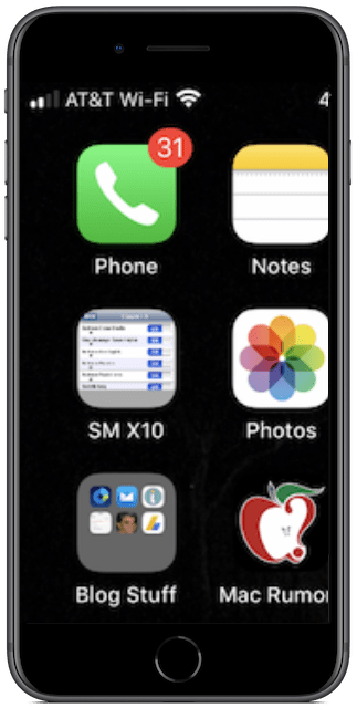 iPhone 8 Plus screen, zoomed
