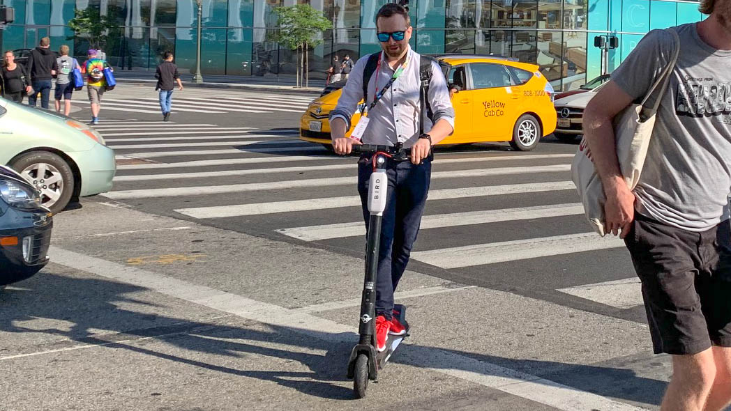 electric scooter in traffic