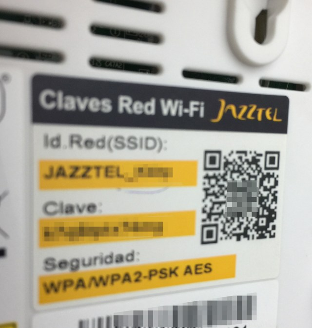 Claves Wi-Fi en un router, adquirible con un code QR