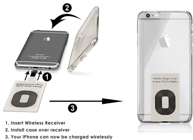 Instrucciones para instalar un receptor de carga inalámbrica