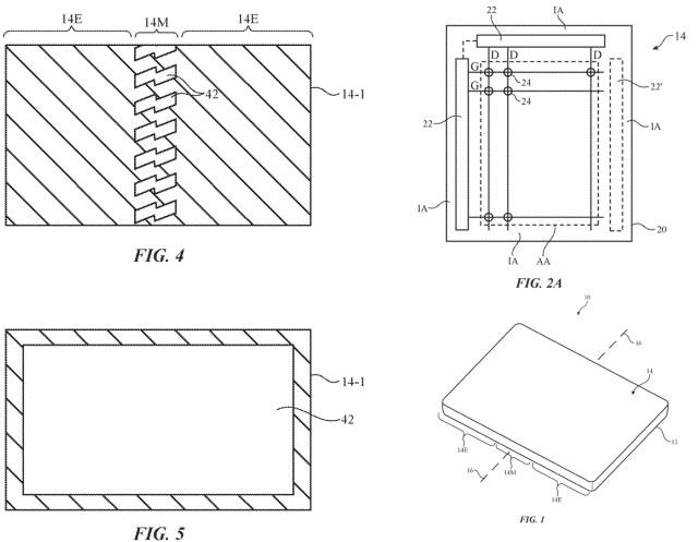 Diagramas de la pantalla que dobla en la patente de Apple