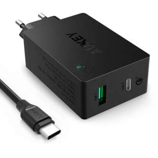 Aukey PA-Y2 Qualcomm Quick Charge 3.0 thuislader (1 USB + 1 USB-C Port)