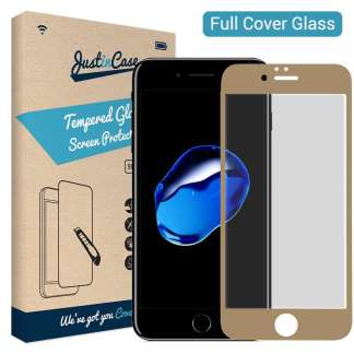 Just in Case Full Cover Tempered Glass iPhone 8/7 (Goud)