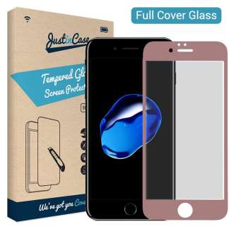 Just in Case Full Cover Tempered Glass iPhone 8/7 (Rose Goud)
