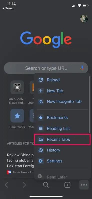Как снова открыть закрытые вкладки в Chrome на iPhone, iPad, Mac