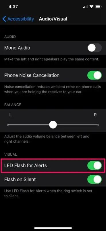 Как включить уведомления о светодиодной вспышке на iPhone