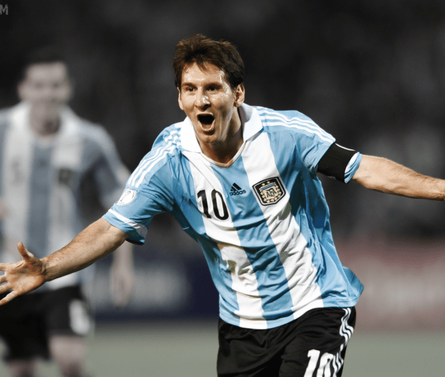 Lionel Messi Celebrating A Goal World Cup