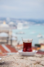 Turkish tea on a rooftop
