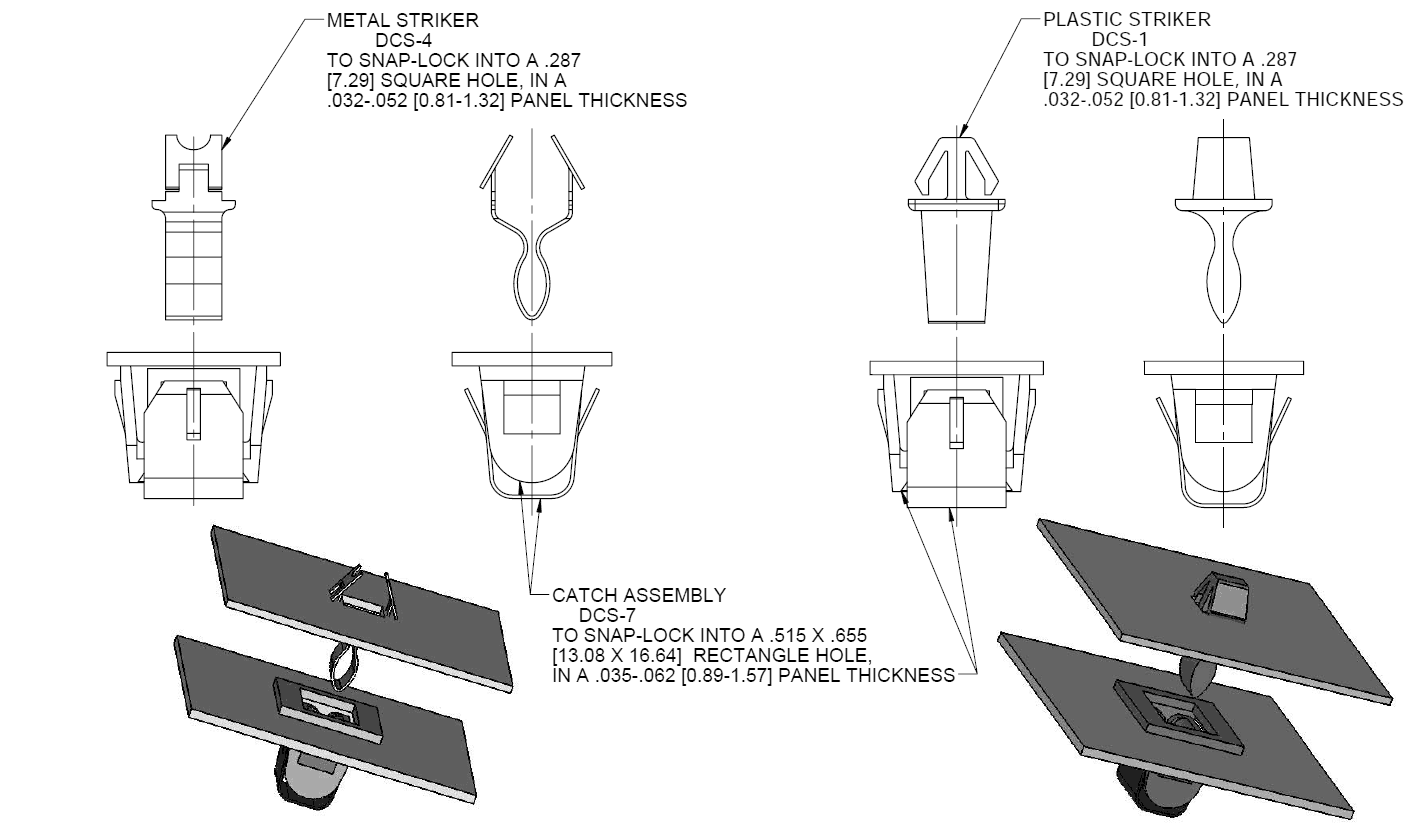 Metal And Plastic Catch And Striker Dcs