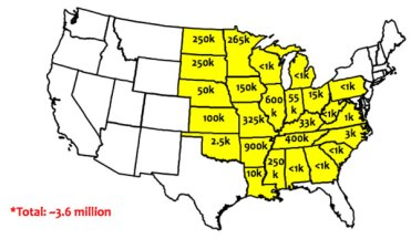 map of dicamba-injured soybean acreage as reported by state extension weed scientists as of October 15, 2017.