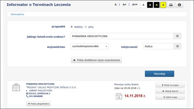 wyszukiwarka wolnych terminów u lekarzy specjalistów