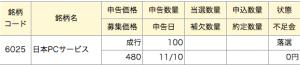 日本PCサービス マネックス 落選