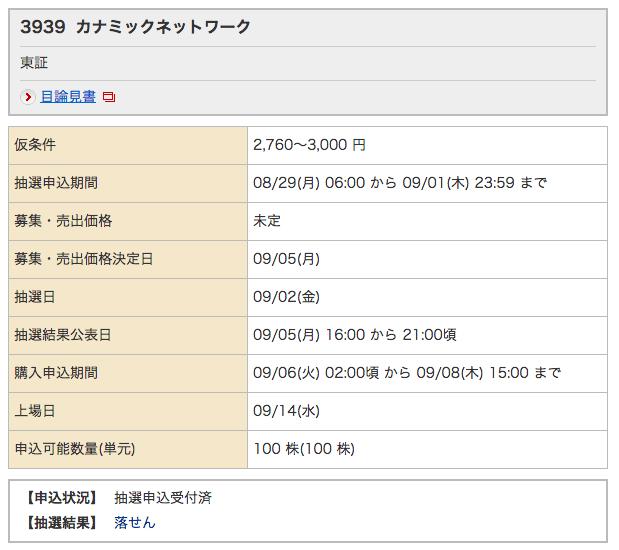 カナミックネットワーク 野村証券 落選