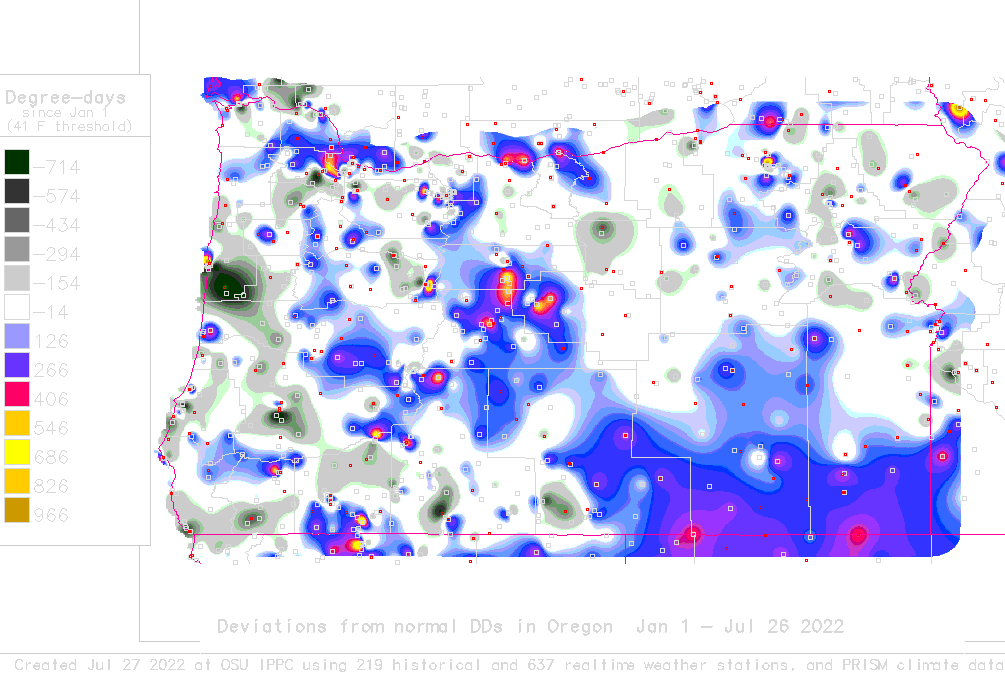Oregon Degree Days Deviation Map 41 F