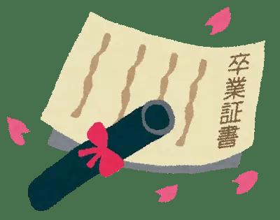 卒業証書の画像