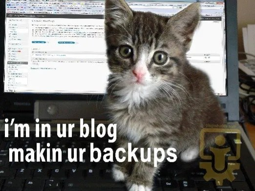 Our cat makes our backups. A humours meme explaining WordPress plugin use.