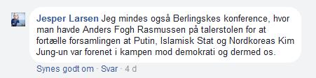 Fogh sammenligner Putin med Islamisk Stat
