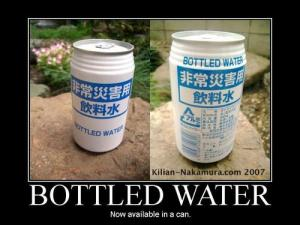 Bottled water in cans Japan