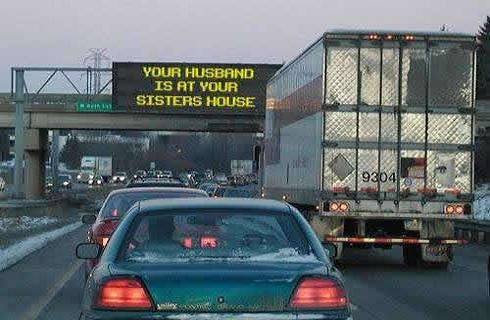 Husband at your sister's house sign