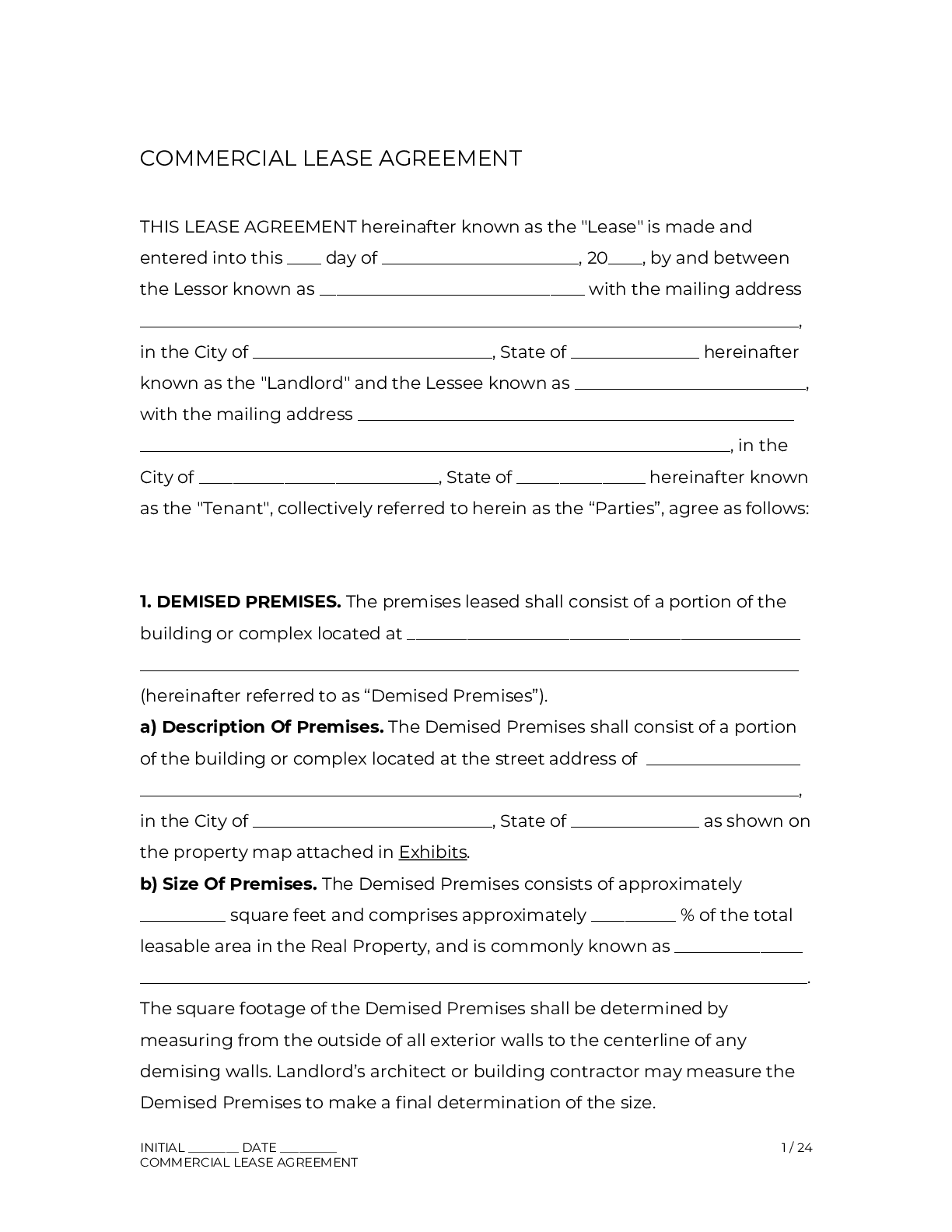 An office lease agreement is a formal contract between a landlord and an occupant who will be renting for purposes other than retail. Commercial Lease Agreement Template 2021 Official Pdf