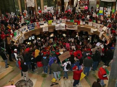 Thousands made their voices heard in the Wisconsin State Capitol. Photo by RickPoll.