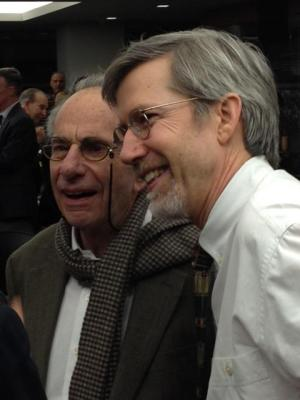 Marcus Raskin with current IPS Director John Cavanagh. Photo by E. Ethelbert Miller.