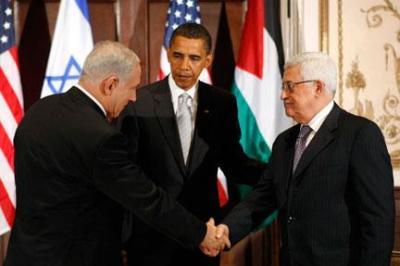 Benjamin Netanyahu (L), Barack Obama (C) and Mahmud Abbas in New York, 22 September 2009. (Photo: Reuters)