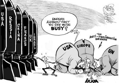 Anti-Proliferation Brigade, an OtherWords cartoon by Khalil Bendib
